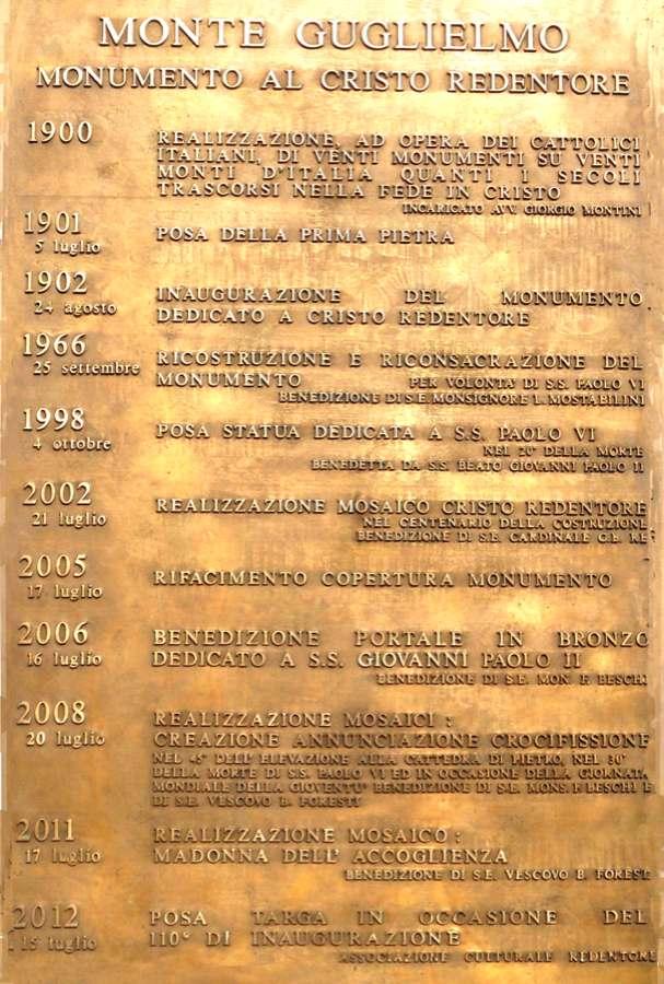 Targa in bronzo con didascalie date